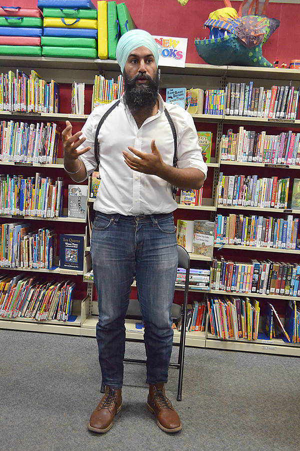 <p>GAYLE WILSON PHOTO</p><p>Jagmeet Singh, leadership candidate for the federal NDP, was at the Lunenburg Library August 28 as part as a campaign swing through the province.</p>