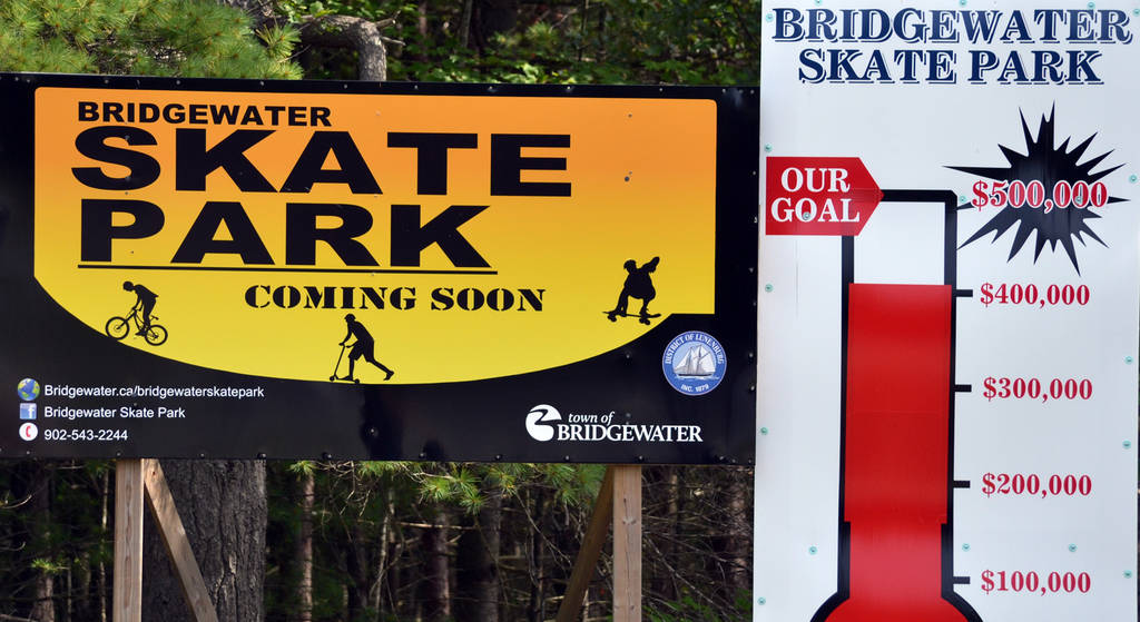 <p>KEITH CORCORAN PHOTO</p><p>Signage visible in mid-August off Bridgewater's York Street - in the business park - at the site of the town's first permanent skate park.</p>