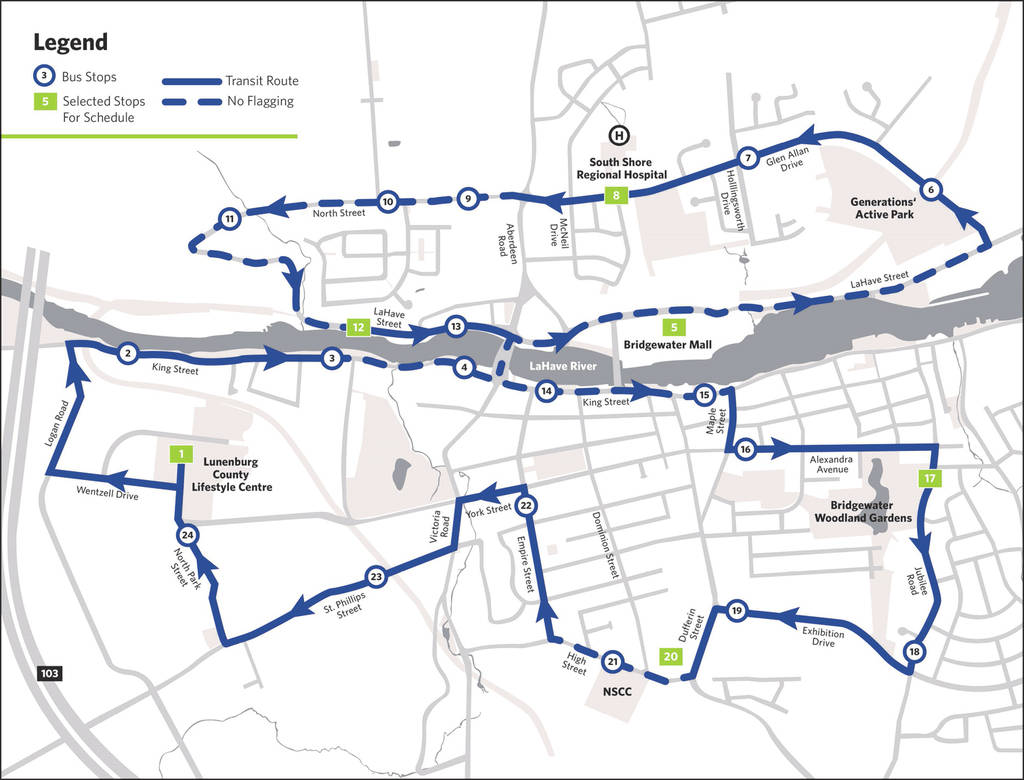 <p>A screen grab of a map posted on Bridgewater's web site outlining the bus service loop and stops.</p>