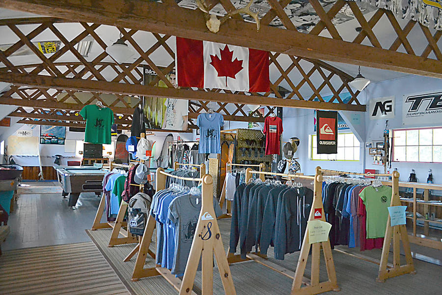 <p>GAYLE WILSON PHOTO</p><p>Rather than trying to compete with surf equipment available on-line, Rossignol Surf Shop's retail end focuses on offering souvenir t-shirts and Nova Scotian crafts.</p>