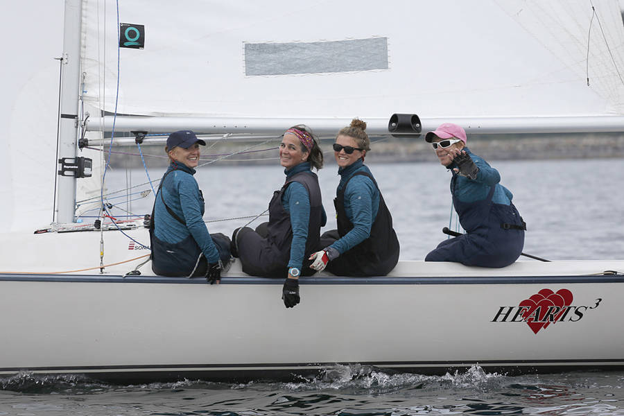 <p>BRITTANY WENTZELL PHOTO</p><p>Sarah Crutcher, Leanne Gillis, Kate Peppler, and Karen Fowler of the Bedford Basin Yacht Club waves for a photo on September 15.</p>