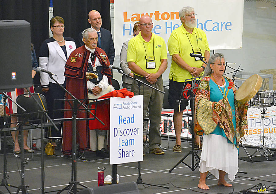 <p>GAYLE WILSON PHOTO</p><p>Mi'kmaq elder Peggy Wentzell leads a ceremonial prayer at the opening ceremony for the 55+Games at the Lunenburg County Lifestyle Centre in Bridgewater September 14. Among those standing behind her is Bridgewater Town Crier Ozzie Stiles, Games co-chairs Robin Scott (left) and Carroll Randell, and the mayors of the Municipality of the District of Lunenburg, Carolyn Bolivar-Getson and the Town of Bridgewater, David Mitchell.</p>