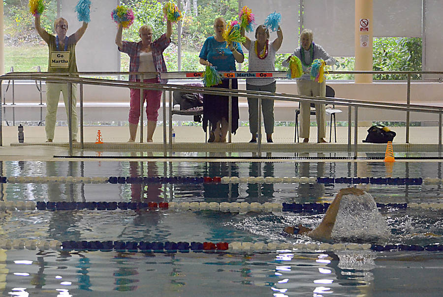 <p>GAYLE WILSON PHOTO</p><p>Members attending the 55+Games cheer on veteran swimmer Martha Saunders, who is an honorary co-chair for the event, at a competition at the Lunenburg County Lifestyle Centre pool on September 15.</p>
