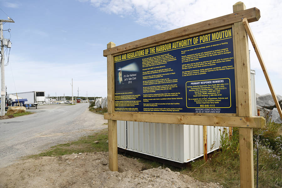 <p>BRITTANY WENTZELL PHOTO</p><p>Signage next to the federal wharf in Port Mouton outlining rules set in place by the Port Mouton Harbour Authority. A dispute between the harbour authority and the Little Hope Management Committee led to the shut down and later re-opening of the roe herring fishery off the coast of Port Mouton.</p>