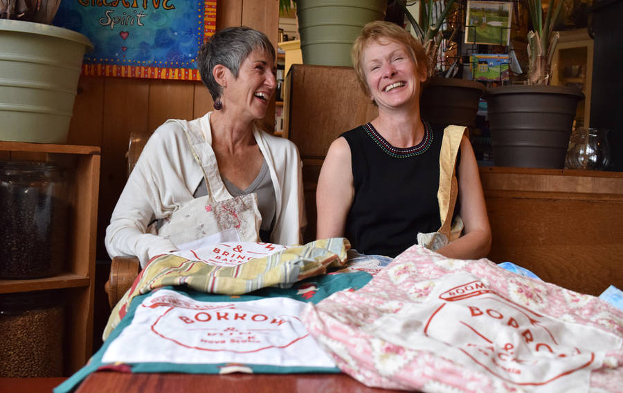 <p>MICHAEL LEE PHOTO</p><p>From left, Teresa Quilty and Katherine Barrett, both from Garden Lots, pictured with several handcrafted Boomerang Bags.</p>