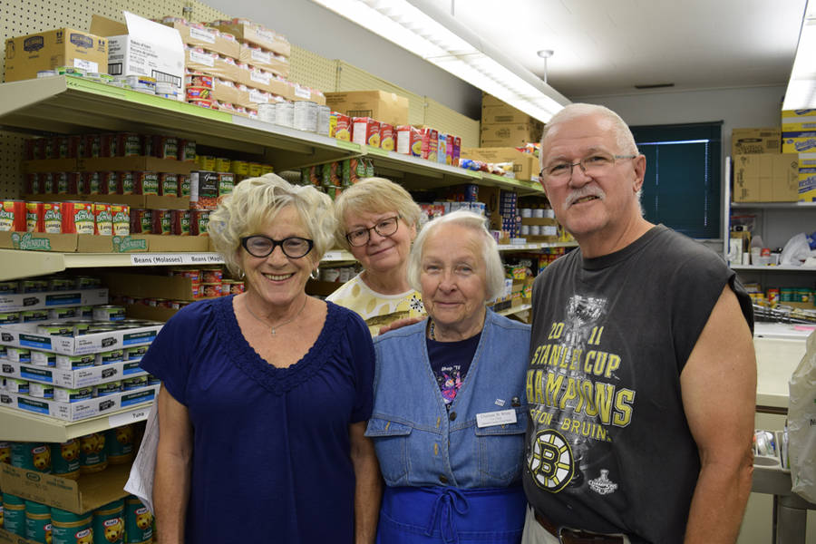<p>MICHAEL LEE PHOTO</p><p>From left, Queens County Food Bank volunteers Helen Harrington, Isabel Inness, co-chair Charlotte White and David Barnes.</p>