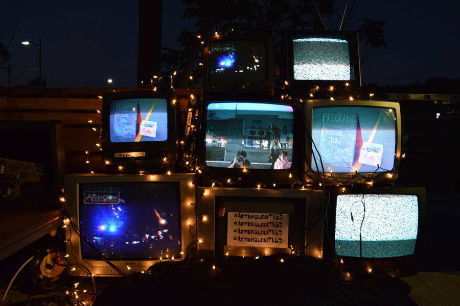 <p>MICHAEL LEE PHOTO</p><p>A LighthouseNOW reporter catches a glimpse of himself in a TV art installation.</p>
