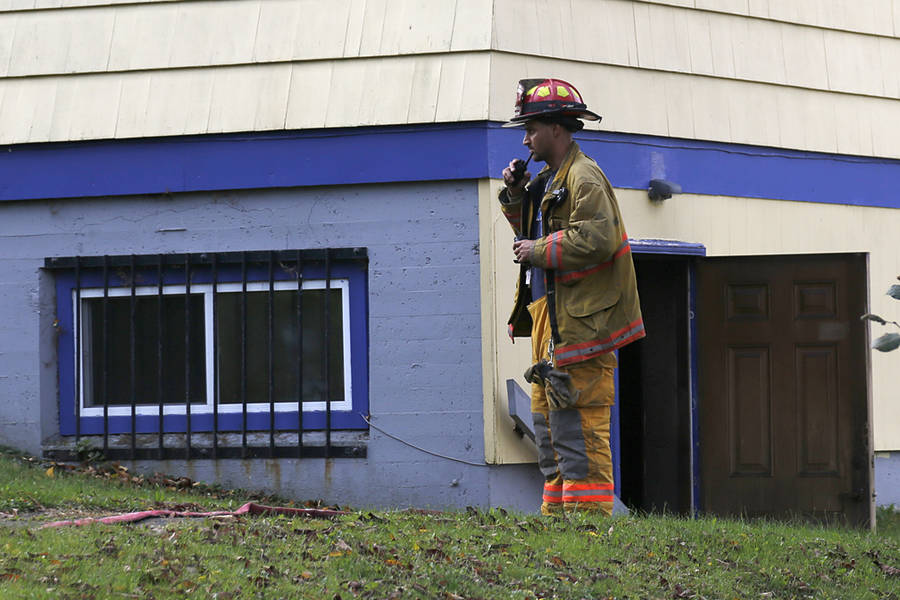 <p>BRITTANY WENTZELL PHOTO</p><p>Firefighter Naaman Barton at the Lions Club shortly after smoke in the building was discovered.</p>