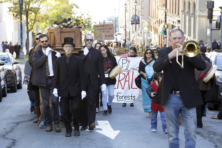<p>BRITTANY WENTZELL PHOTO</p><p>The Healthy Forest Coalition, along with around 600 demonstrators took part in a protest in the form of a funeral in Halifax to draw attention to the issue of clearcutting on crown land.</p>