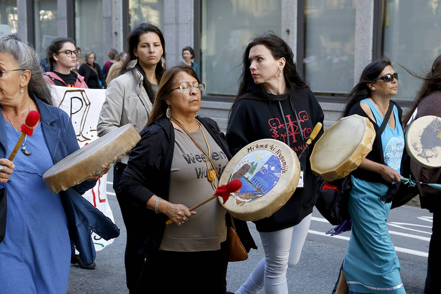 <p>BRITTANY WENTZELL PHOTO</p><p>A group of Mi'kmaq women drum during the procession.</p>