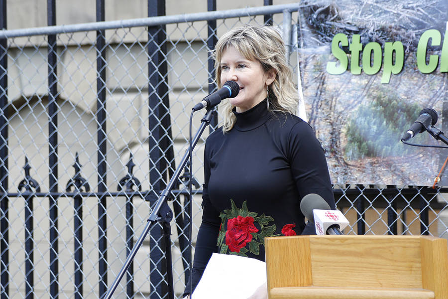 <p>BRITTANY WENTZELL PHOTO</p><p>Donna Crossland, a forest ecologist and one of the event's organizers, speaks in front of Province House.</p>