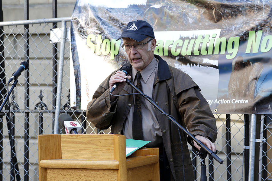 <p>BRITTANY WENTZELL PHOTO</p><p>Bob Bancroft, wildlife biologist, reads his eulogy to the forest.</p>