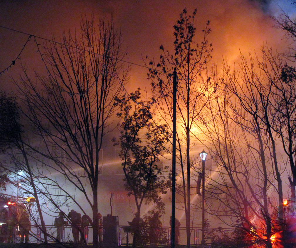 <p>KEITH CORCORAN PHOTO</p><p>Multiple volunteer fire departments battled this King Street building blaze in Bridgewater Sunday night and into Monday.</p>