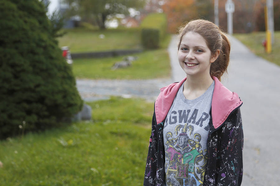 <p>BRITTANY WENTZELL PHOTO</p><p>Grade 11 student Gwendolyn Williams doesn't like the changes the school board made to the library at Liverpool Regional High School, nor is she happy with cuts that have led to the closure of that space many day of the week.</p>