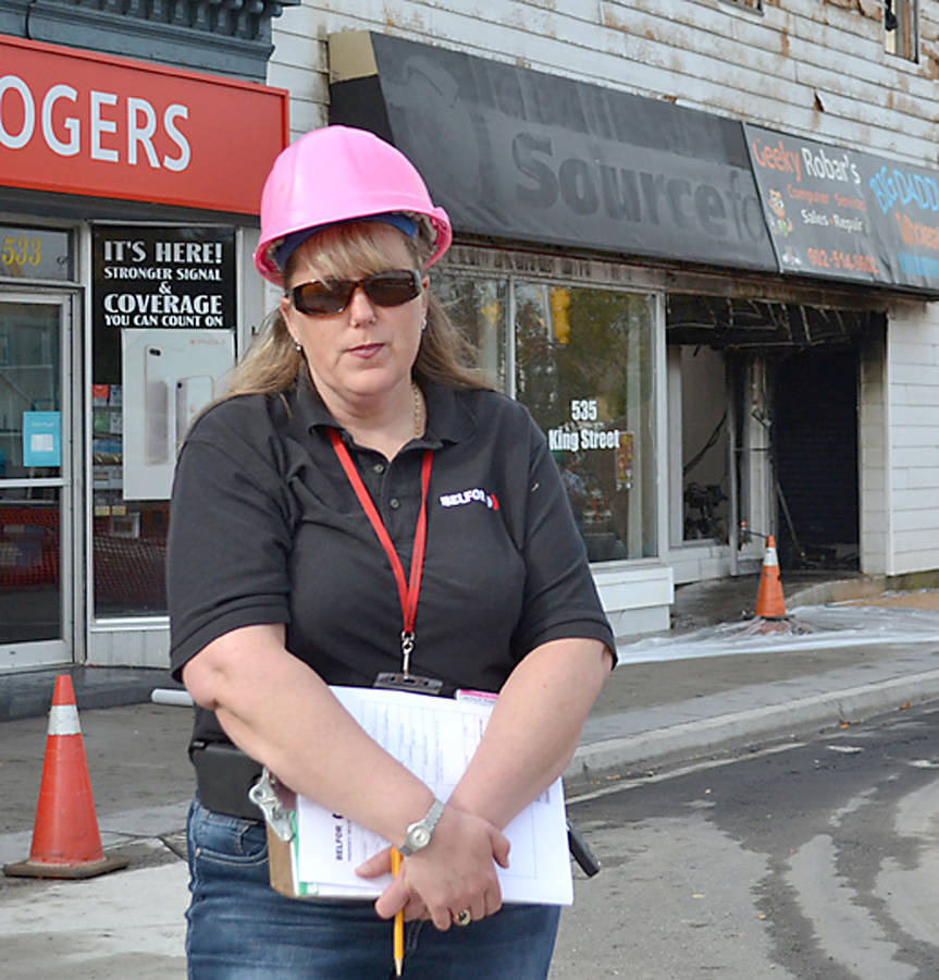 <p>GAYLE WILSON PHOTO</p><p>Lou Chaulk, estimator and project manager for Belfor Property Restoration of Dartmouth, which is conducting the demolition of the King Street buildings destroyed by fire Sunday night.</p>