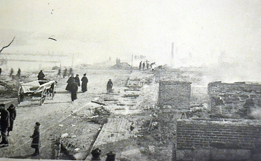 <p>CONTRIBUTED</p><p>Photograph retained by the Bridgewater Fire Department of the ruins of a Main Street fire in 1899 that destroyed more than 60 businesses.</p>