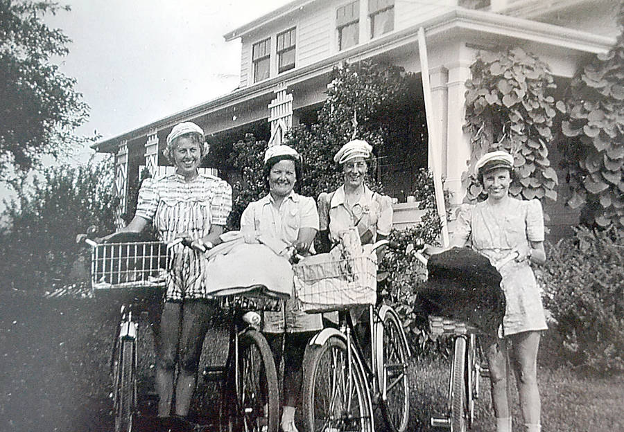 <p>CONTRIBUTED PHOTO</p><p>One of the photographs taken as the women were on their cycling journey between Blockhouse and Charlottetown, P.E.I. Left to right: Dot Eichel, Nora Young and Ruby and Ruth Ernst. For more Remembrance Day coverage, please see pages 17, 18 and 27.</p>