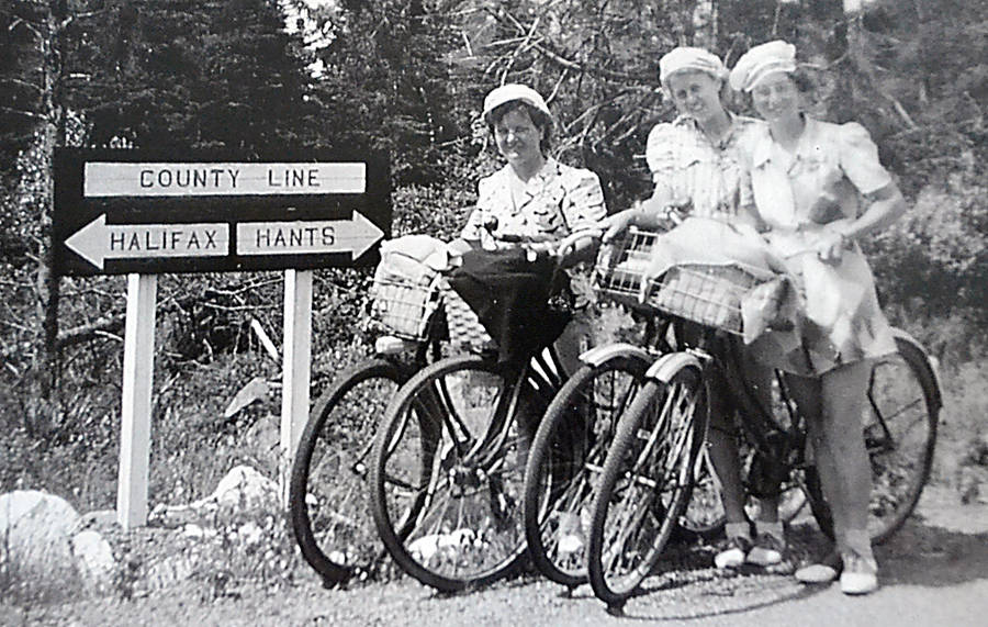 <p>RUBY ERNST PHOTO</p><p>Nora Young, Ruth Ernst and Dorothy Eichel pose while Ruby snapped this shot as they were on their 400 km-plus bicycle journey in 1943.</p>