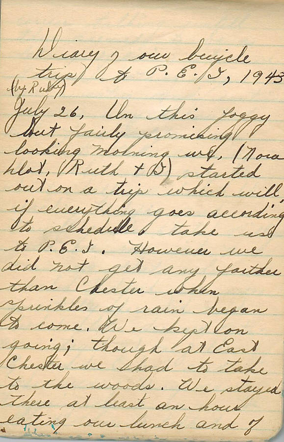 <p>CONTRIBUTED</p><p>A page of the diary recording the start of the journey four women friends took by bicycle from Blockhouse to Charlottetown in the middle of World War II.</p>