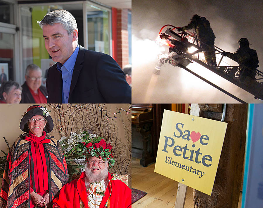 <p>Clockwise from top left: Stephen McNeil; firemen battling the King Street blaze in Bridgewater; a sign protesting a proposed school closure; Heather and Dr. David Abriel.</p>