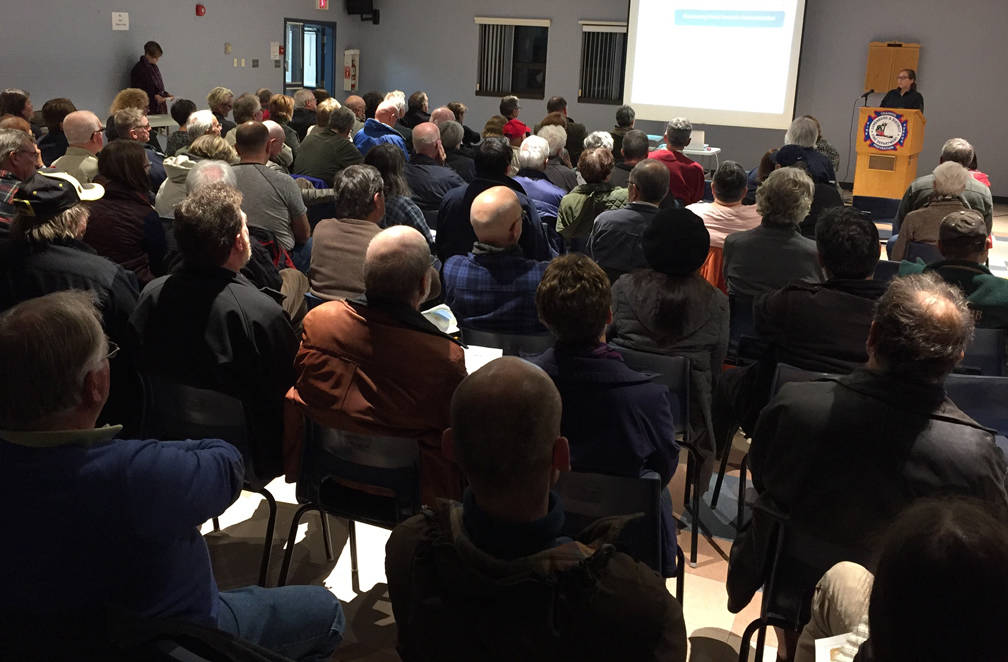 <p>KEITH CORCORAN PHOTO</p><p>Lunenburg's fire station filled with meeting attendees.</p>