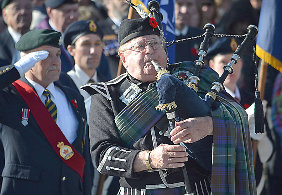 <p>GAYLE WILSON PHOTO</p><p>Ron LeBlanc was the piper at the Remembrance Day ceremony in Bridgewater.</p>