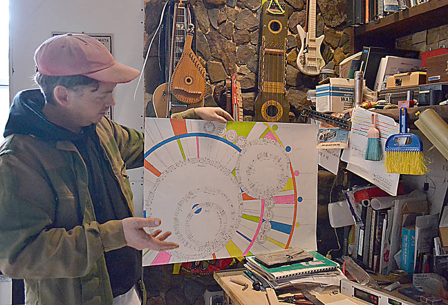 <p>GAYLE WILSON PHOTO</p><p>Jay Crocker in his music studio in Crousetown describes some of the theory behind his creations.</p>