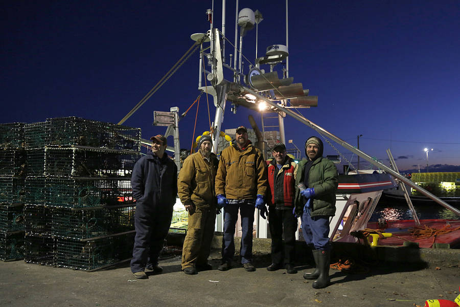 <p>BRITTANY WENTZELL PHOTO</p><p>Members of the Rant and Rave crew pose for a photo just before the opening of lobster season in LFA 33. From left: Sammy Whynot, Donny Long, Mike Swim, Corey Williams, and Hughey Whynot.</p>