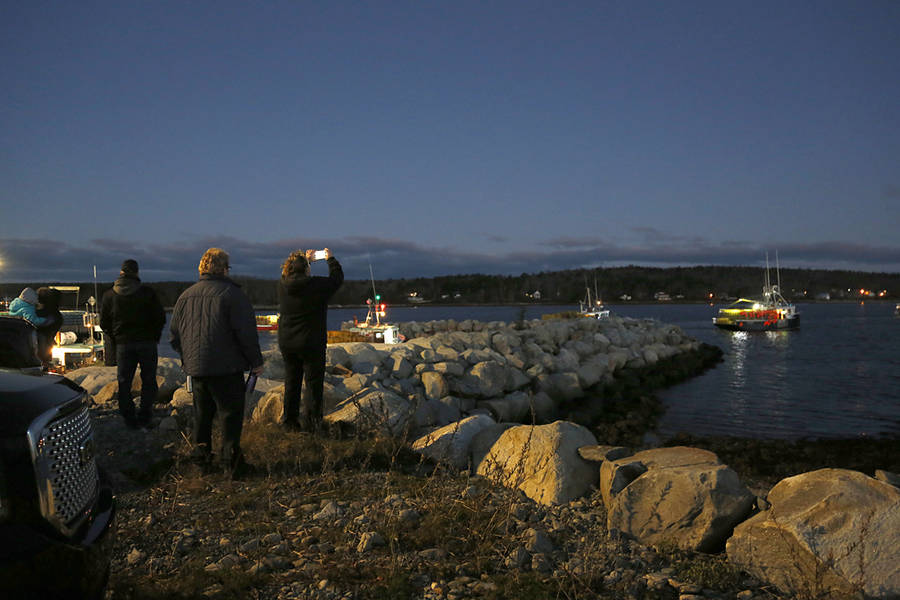 <p>BRITTANY WENTZELL PHOTO</p><p>Community members, family, and friends, came to watch and wish fishermen well as they head off for the beginning of the season.</p>