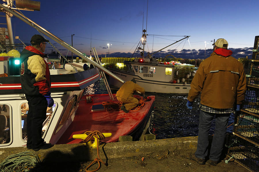 <p>BRITTANY WENTZELL PHOTO</p><p>Crew members prepare their vessel for the beginning of lobster season.</p>