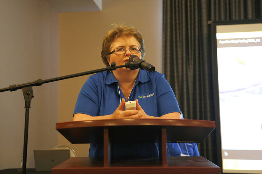 <p>BRITTANY WENTZELL PHOTO</p><p>Myrna Gillis, the chief executive officer of Aqualitas, speaks at the event which drew over 150 people at the first sesssion.</p>