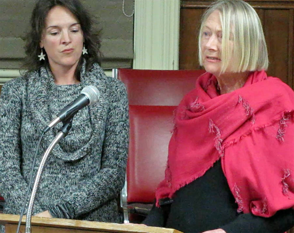 <p>KEITH CORCORAN PHOTO</p><p>Pamela Segger, left, and Inge Hatton of Lunenburg Doc Fest talk to civic politicians November 28 about the potential absence of an arts centre.</p>