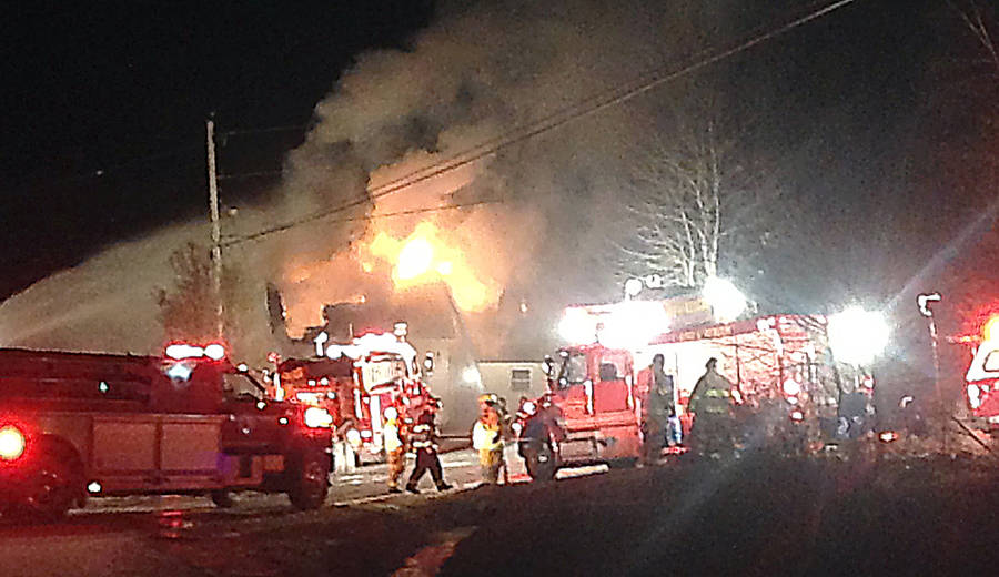 <p>CONTRIBUTED PHOTO</p><p>Firefighters from Mahone Bay, Blockhouse, Martins River and Lunenburg attended the fire, while those from Oakhill were on standby.</p>