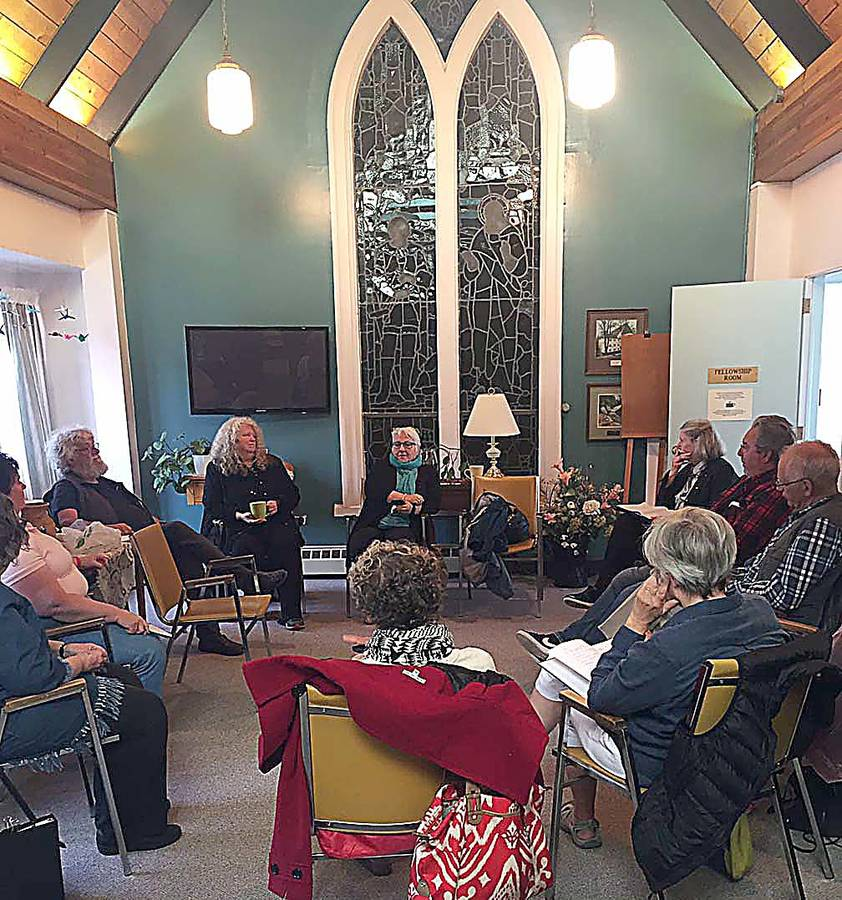 <p>CONTRIBUTED PHOTO</p><p>Seniors gathered in the United Church in Lunenburg to learn about documentary filmmaking with mentor Yvonne Mosley (in centre next to the lamp.)</p>