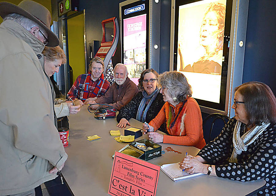 <p>GAYLE WILSON PHOTO</p><p>Members of the Lunenburg County Film Series group greet guests at a showing of <em>C'est La Vie</em> at the Cineplex in Bridgewater February 21. Left to right are members Richard Donat, Ron Topp, Deb Beers, Maggie Thomas and Susan Goodwin.</p>