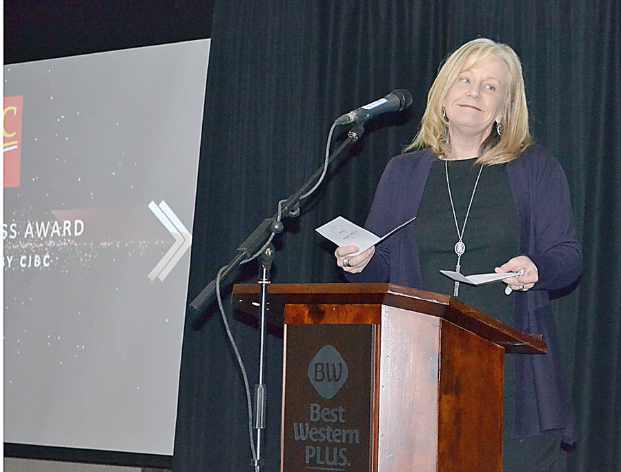 <p>GAYLE WILSON PHOTO</p><p>Jennifer Shankle, the CIBC's banking centre leader in Bridgewater, presented the Large Business Award.</p>