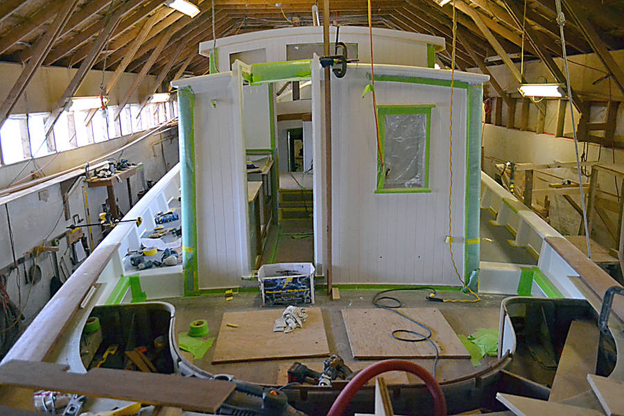 <p>A 48-foot motor-sailor boat under construction at Tern Boatworks.</p>