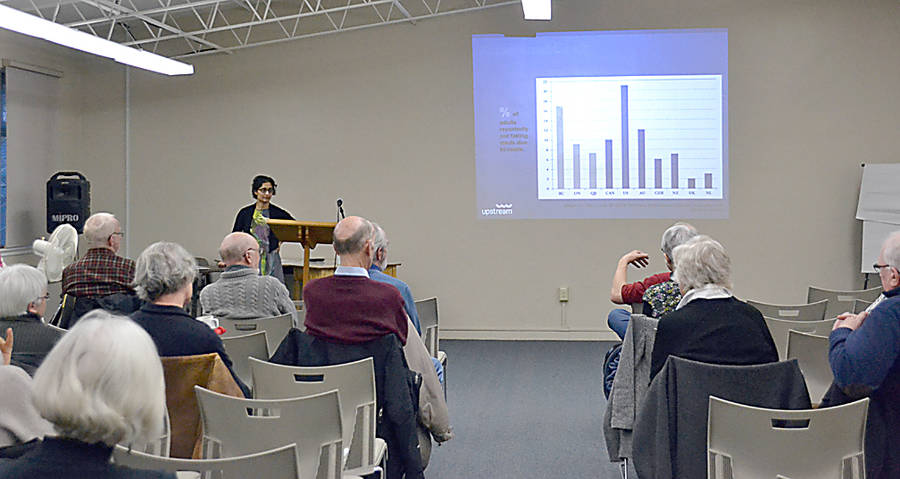 <p>GAYLE WILSON PHOTO</p><p>About 25 people turned up at the Mahone Bay Centre April 20 to hear Dr. Monika Dutt of Canadian Doctors speak about pharmacare, as part of the South Shore Chapter Council of Canadian presentation series.</p>