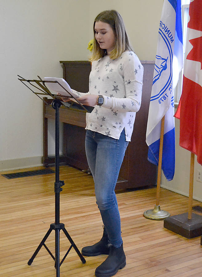 "<p>GAYLE WILSON PHOTO</p><p>Bridgewater student Stella Bowles reminded those attending the ground breaking ceremony that straight pipes are a problem elsewhere in the province. ""I hope the provincial government will go to the next step and make it mandatory, when a house is sold anywhere in the province with a straight pipe the illegal pipe must be replaced,"" she said.</p>"