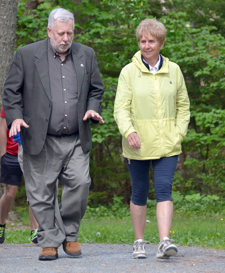 <p>KEITH CORCORAN PHOTO</p><p>Nancy Greene Raine joins Region of Queens Mayor David Dagley for a community walk June 2 in Milton.</p>