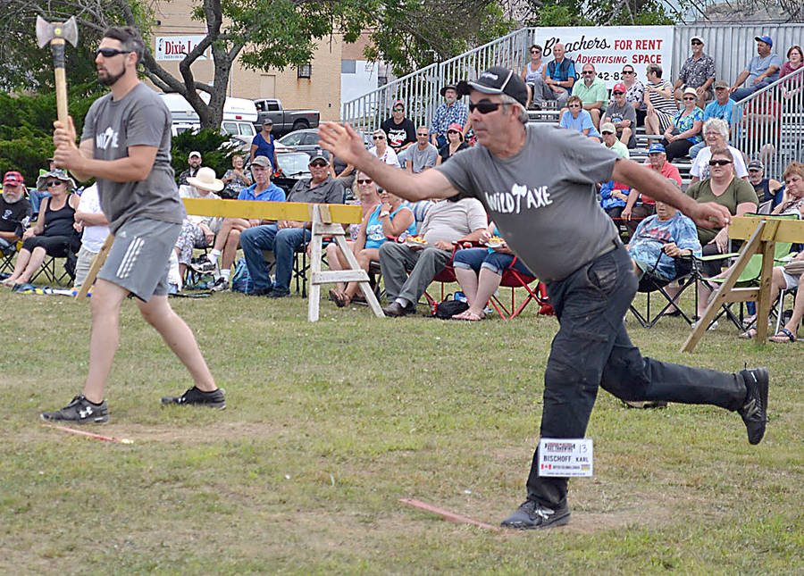 <p>Ryan McIntyre, president and founder of the North Nova Lumberjacks Society, spars off against the top overall Canadian in the championship, Karl Bishoff of British Columbia.</p>