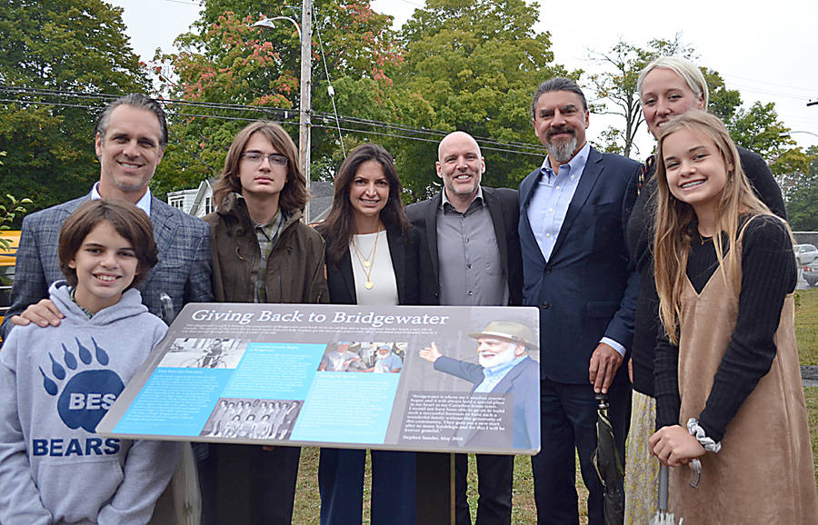 <p>GAYLE WILSON PHOTO</p><p>Bridgewater Mayor David Mitchell stands amid the Sander contingent at the plaque at BES dedicated to their father, Stephen Sander. Among the Sanders' group, left to right, are Gavin, Julian and Austin Bannister, Karen Sander, Lexy Bannister, Paul Sander and Mercedes Buchan.</p>