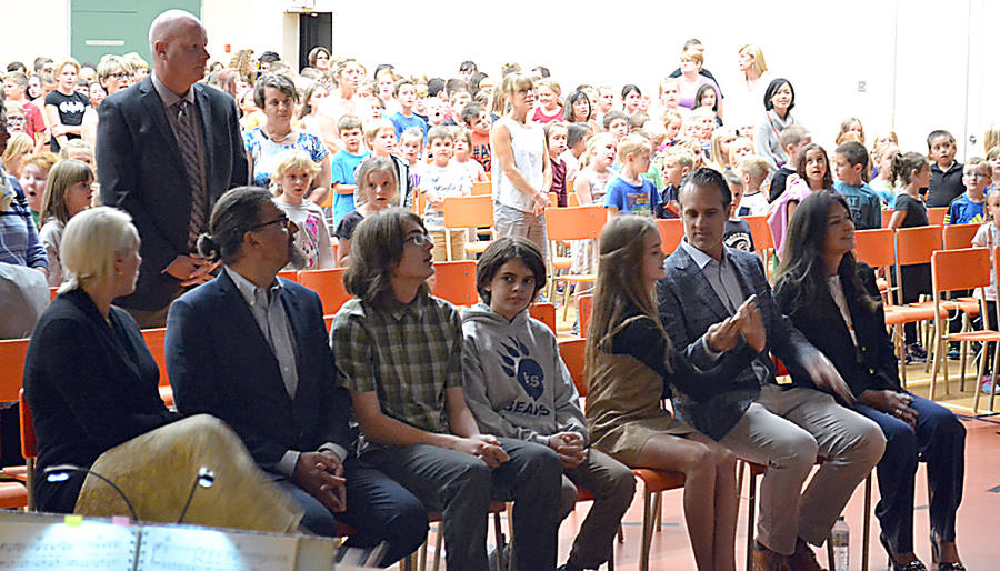 <p>GAYLE WILSON PHOTO</p><p>The Sander family contingent in the auditorium of the Bridgewater Elementary School. South Shore Regional Education Centre's executive director, Scott Milner, is standing in the background.</p>